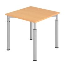 Hammerbach Schreibtisch YS08 4-Füße rund Ø60mm Arbeitshöhe 68-82cm (BxT) 80x80cm Buche/Silber