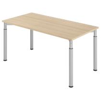 Hammerbach Schreibtisch YS16 4-Füße rund Ø60mm Arbeitshöhe 68-82cm (BxT) 160x80cm Eiche/Silber