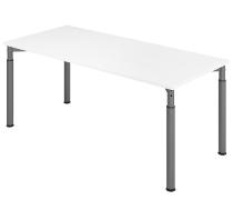 Hammerbach Schreibtisch YS19 4-Füße rund Ø60mm Arbeitshöhe 68-82cm (BxT) 180x80cm Weiß/Graphit