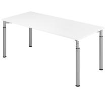 Hammerbach Schreibtisch YS19 4-Füße rund Ø60mm Arbeitshöhe 68-82cm (BxT) 180x80cm Weiß/Silber