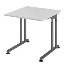 Hammerbacher Schreibtisch ZS08 C-Fuß Arbeitshöhe 68-82cm (BxT) 80x80cm Grau/Graphit