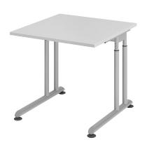 Hammerbacher Schreibtisch ZS08 C-Fuß Arbeitshöhe 68-82cm (BxT) 80x80cm Grau/Silber