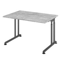 Hammerbacher Schreibtisch ZS12 C-Fuß Arbeitshöhe 68-82cm (BxT) 120x80cm Beton/Graphit