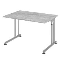 Hammerbacher Schreibtisch ZS12 C-Fuß Arbeitshöhe 68-82cm (BxT) 120x80cm Beton/Silber