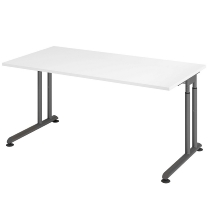 Hammerbacher Schreibtisch ZS16 C-Fuß Arbeitshöhe 68-82cm (BxT) 160x80cm Weiß/Graphit