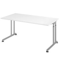 Hammerbacher Schreibtisch ZS16 C-Fuß Arbeitshöhe 68-82cm (BxT) 160x80cm Weiß/Silber