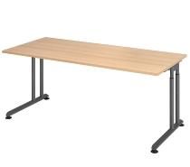Hammerbacher Schreibtisch ZS19 C-Fuß Arbeitshöhe 68-82cm (BxT) 180x80cm Eiche/Graphit