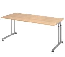 Hammerbacher Schreibtisch ZS19 C-Fuß Arbeitshöhe 68-82cm (BxT) 180x80cm Eiche/Silber