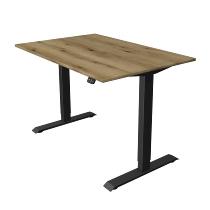 Kerkmann 1809 Steh-/Sitztisch Move 1 T-Fuß Anthrazit (BxTxH) 120x80x Höhe 74-123cm elektr. Eiche