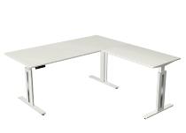 Kerkmann 1860 Steh-/Sitzschreibtisch Move 3 fresh mit Anbau (BxTxH)180x180x72-120cm Weiß / Weiß