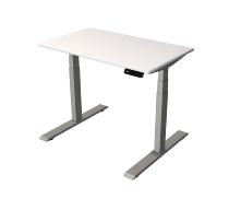 Kerkman Smart office Steh-/Sitztisch C-Fuß Gestell Silber (BxTxH) 100x60x63-127cm Weiß
