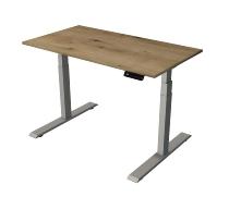 Kerkman Smart office Steh-/Sitztisch C-Fuß Gestell Silber (BxTxH) 120x65x63-127m Eiche