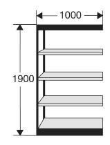 Kerkmann 2111 Regal Progress 2000 Regalfeld (TxBxH) 30 X 100 X 190cm Schwarz/Grau
