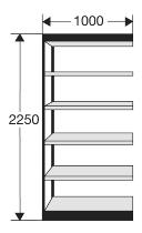 Kerkmann 2131 Regal Progress 2000 Regalfeld (TxBxH) 30 X 100 X 225cm Schwarz/Grau