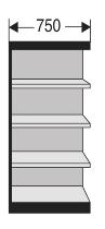 Kerkmann 2215 Büro-Regal Progress 2000 Regalfeld mit Rückwand (TxBxH) 30 X 75 X 190cm Schwarz/Grau