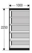 Kerkmann 2231 Regal Progress 2000 Regalfeld mit Rückwand (TxBxH) 30 X 100 X 225cm Schwarz/Grau