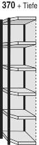 Kerkmann 2449 Magazin-Regal Stora 100 Eckregalfeld mit Rückwand (TxH) 300X2250mm Schwarz/Grau