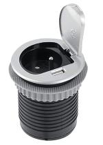 Kerkmann 3003 Steckdose mit USB Slot Silber - links montiert