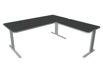Kerkmann 3346 Schreibtisch UNIC C-Fuß mit Anbau (BxTxH) 1800x1800x750mm Anthrazit
