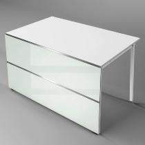 Kerkmann 3394 Tisch-Anbauelement Atlantis 1 - beidseitig gerade (BxTxH) 1350x825x750mm Weiß/Glas