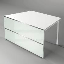 Kerkmann 3395 Tisch-Anbauelement Atlantis 1 einseitig schräg (BxTxH) 1350x825x750mm Weiß/Glas