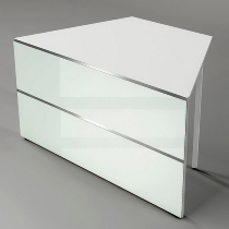 Kerkmann 3396 Tisch-Anbauelement Atlantis 1 beidseitig schräg (BxTxH) 1350x825x750mm Weiß/Glas