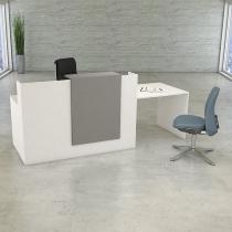 Kerkmann 3534 Kompakttheke SYDNEY mit Besprechungsplatz (BxTxH) 250 x 84 x 110 cm Weiß/Grafit