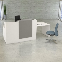Kerkmann 3534 Kompakttheke SIDNEY mit Besprechungsplatz (BxTxH) 250 x 84 x 110 cm Weiß/Grafit