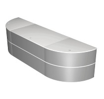 Kerkmann 3538 PADUA Niedrigtheke/Großschreibtisch (BxTxH) 297x81x75cm Weiß/Silber