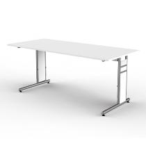 Kerkmann 4102 Schreibtisch Form 4 C-Fuß höhenverstellbar (BxTxH) 180x80x68-82cm Weiß