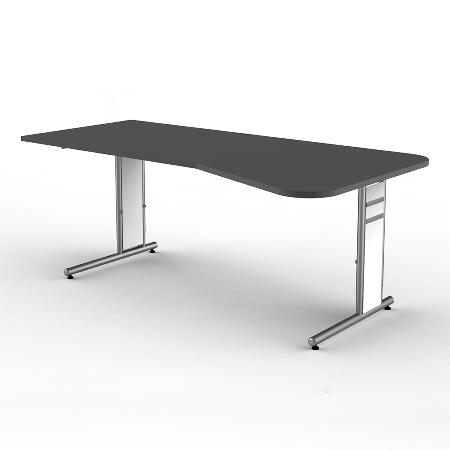 Kerkmann 4114.1 Freiformtisch Form 4 C-Fuß höhenverstellbar (BxTxH) 195x80/100x68-82cm Grafit