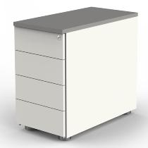 Kerkmann 4191 Anstellcontainer (BxTxH) 43x80x72-76cm 4 Schubladen Weiß/Grafit