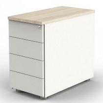 Kerkmann 4193 Anstellcontainer (BxTxH) 43x80x72-76cm 4 Schubladen Weiß/Ahorn