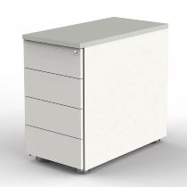 Kerkmann 4198 Anstellcontainer (BxTxH) 43x80x72-76cm 4 Schubladen Weiß/Lichtgrau