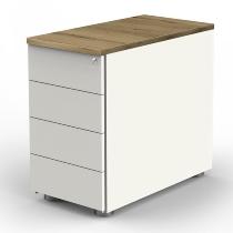 Kerkmann 4199 Anstellcontainer (BxTxH) 43x80x72-76cm 4 Schubladen Weiß/Eiche