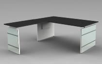 Schreibtisch LUGANO Glas 180x80cm+Anbau 100x80cm höhenverstellbar 68-76cm Anthrazit