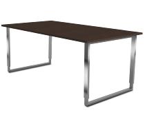 Kerkmann 4314 Schreibtisch AVETO Edelstahl Bügelgestell (BxTxH) 1800 x 800 x 680-820cm Tischplatte Wenge