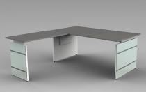 Schreibtisch LUGANO Glas 180x80cm+Anbau 100x80cm höhenverstellbar 68-76cm Grafit