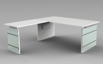 Schreibtisch LUGANO Glas 180x80cm+Anbau 100x80cm höhenverstellbar 68-76cm Weiß