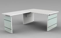 Schreibtisch LUGANO Glas 160x80cm+Anbau 100x80cm höhenverstellbar 68-76cm Weiß