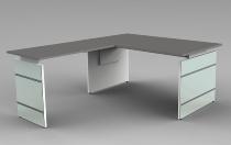 Schreibtisch LUGANO Glas 160x80cm+Anbau 100x80cm höhenverstellbar 68-76cm Grafit