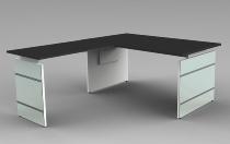 Schreibtisch LUGANO Glas 160x80cm+Anbau 100x80cm höhenverstellbar 68-76cm Anthrazit