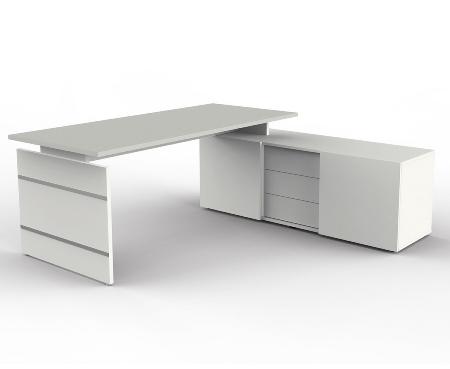 Kerkmann Form 4 Komplettarbeitsplatz mit Wangengestell Auflage-Schreibtisch und Sideboard Weiß/Grafit