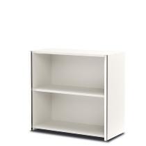 Kerkmann 4530 Regal 2OH breit (Schrankkorpus) mit Edelstahl-Zierleisten Holzfachböden Weiß