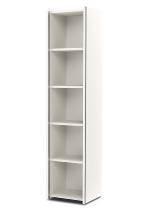 Kerkmann 4533 Regal 5OH schmal (Schrankkorpus) mit Edelstahl-Zierleisten Holzfachböden Weiß