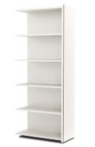 Kerkmann 4534 Regal 5OH breit (Schrankkorpus) mit Edelstahl-Zierleisten Holzfachböden Weiß