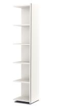 Kerkmann 4530 Anbauregal 5OH schmal (Schrankkorpus) mit Edelstahl-Zierleisten Holzfachböden Weiß