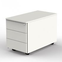Kerkmann 4557 Rollcontainer (BxTxH) 43x80x54cm mit 3 Schubladen Weiß