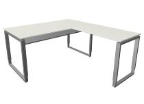 Kerkmann 4938 Schreibtisch Architekt mit Anbau Bügelgestell (BxTxH) 160x180x68-82cm Weiß/Alusilber
