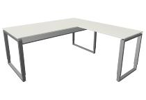 Kerkmann 4939 Schreibtisch Architekt mit Anbau Bügelgestell (BxTxH) 180x180x68-82cm Weiß/Alusilber